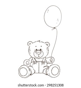 Teddy Bear with balloon. Hand drawing. Vector illustration