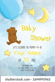Teddy Bear with balloons, night sky, moon and stars