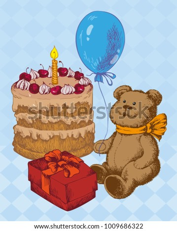 Teddy Bear With Birthday Cake And Balloon Line Illustration