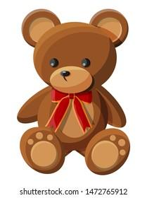 Teddy bear with bow. Bear plush toy. Teddybear icon. Vector illustration in flat style