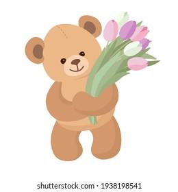 Teddy bear brings flowers. Cute lovely toy bear wishes joy. Happy Holidays theme. Vector