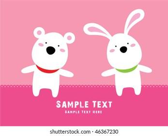 teddy bear and bunny friend