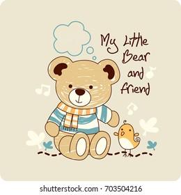 A teddy bear cartoon with chicken friend