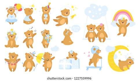 Teddy bear cartoon set. Different activities and poses. Cute design print for any purposes; poster or t-shirt. Isolated on white background.