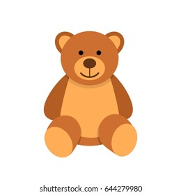 Teddy bear character isolated on white background. Soft toy vector illustration in flat style.