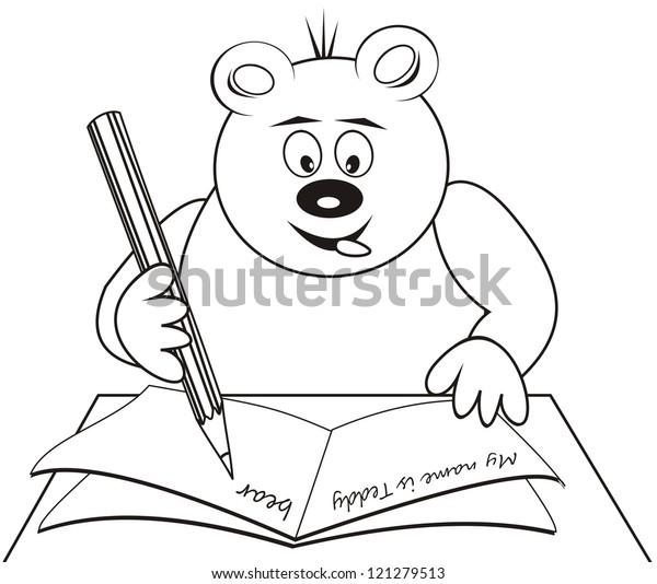 Teddy Bear Coloring Book Vector Icon Stock Vector (Royalty Free) 121279513