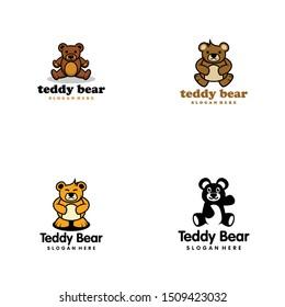Teddy Bear Doll Logo Design Vector