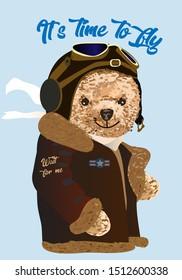 Teddy bear drawing. Simpotic bear pilot, preparing for flight. Vector drawing