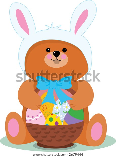 A teddy bear dressed as an Easter Bunny