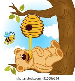 teddy bear eats honey bee - vector illustration, eps