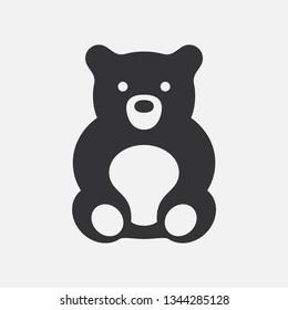 Teddy bear. Flat vector icon