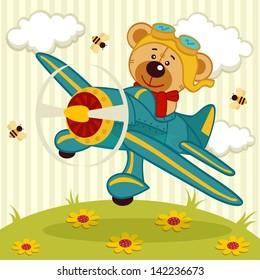 teddy bear fly on a airplane - vector illustration
