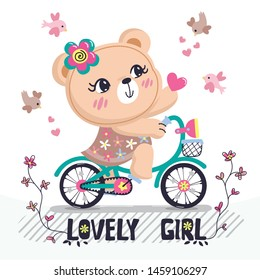 Teddy bear girl riding a bicycle giving a heart for love isolated on white background illustration vector.