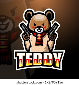 Teddy Bear gunner mascot esport logo design