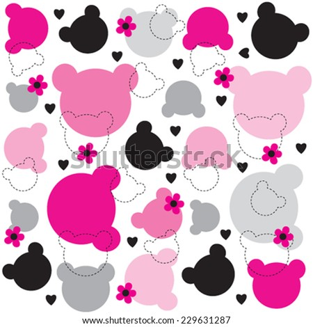 Teddy Bear Head Pattern Vector Illustration