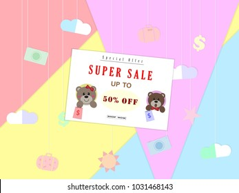 Teddy bear holding bag side view Super Sale poster, banner,special offer,shop now,  up to 50% off,paper cut Vector illustration eps10.