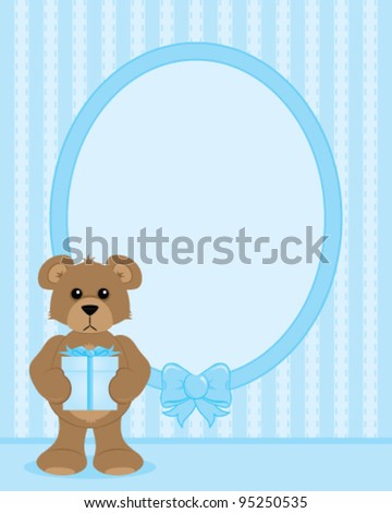 Teddy Bear Holding Gift Frame Copy Stock Vector Royalty Free