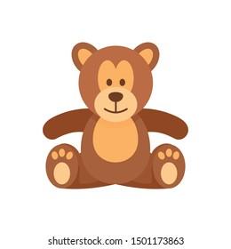 Teddy bear icon. Flat illustration of teddy bear vector icon for web design