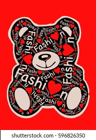Teddy bear isolated with fashion text