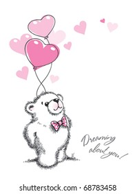 Teddy bear keeps the balloons in the form of hearts on a white background. Hand drawn illustration, vector.