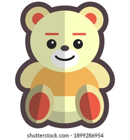 Teddy bear, kids toy, flat vector illustration isolated on white background. Cute stuffed plush animal toy, teddybear icon.