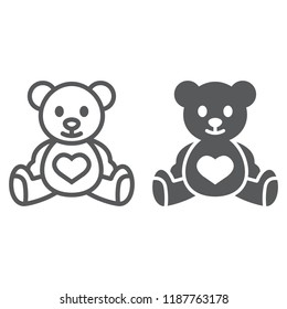 Teddy bear line and glyph icon, child and toy, animal sign, vector graphics, a linear pattern on a white background, eps 10.