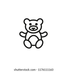 Teddy bear line icon. Toy, stuffed animal, game. Playroom concept. Vector illustration can be used for topics like childhood, kindergarden, playtime