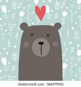 teddy bear love vector card