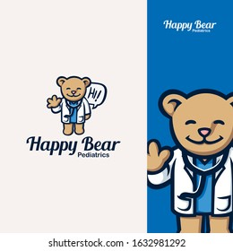 Teddy Bear Mascot Pediatric Doctor Logo. great for doctors reaching out to children.  Features : Editable, 100% Pure Vector, Hand Drawn, High Quality, Scalable, Easy to use, CMYK .EPS file