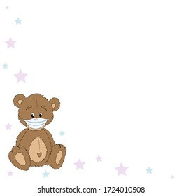 Teddy bear in a medical mask in the corner of the template on a white background with pink and blue stars