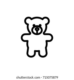 Teddy bear plush thin line icon. Outline symbol baby soft toy for the design of children's webstie and mobile applications. Outline stroke kid cute teddybear pictogram