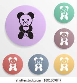Teddy bear plush toy badge color set icon. Simple glyph, flat vector of toys icons for ui and ux, website or mobile application