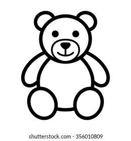 Teddy bear plush toy line art vector icon for apps and websites