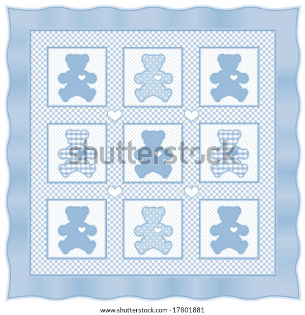 Teddy Bear Quilt Old Fashioned Patchwork Stock Vector
