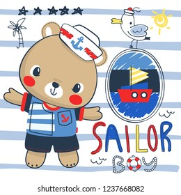 Teddy bear in sailor suit on striped background illustration vector, T-shirt design for kids.