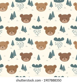 Teddy Bear Seamless Pattern Background, Happy cute bear, Cartoon Panda Bears Vector illustration for kids forest background with dots