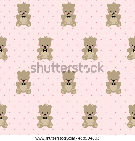 Teddy Bear Seamless Pattern On Pink Stock Vector Royalty Free