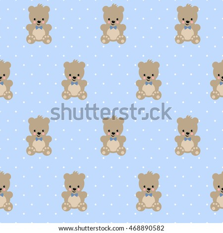 Teddy Bear Seamless Pattern On Baby Stock Vector Royalty Free