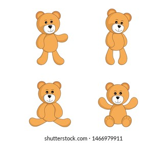 teddy bear set. cute cartoon standing and sitting toy bear in simple style. vector isolated image for children