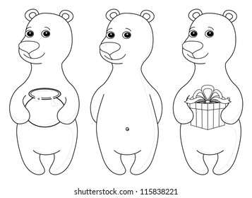 Teddy bear set, cute little toy, standing and smiling, isolated. Various �¢?? simple, with gift box and honey pot, contours. Vector