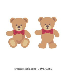 Teddy bear sitting and standing flat illustration. Christmas present icon