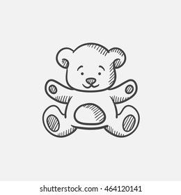 Teddy bear sketch icon for web, mobile and infographics. Hand drawn vector isolated icon.