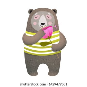 Teddy Bear Smelling a Poppy Flower. Cute bear animal in clothes holding flower greeting card design. Hand drawn watercolor style vector illustration.