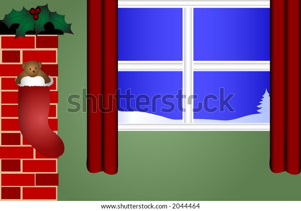 Teddy bear in a stocking hanging from a fireplace next to a window with a view of a winter scene.