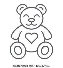 Teddy bear thin line icon, animal and child, plush toy sign, vector graphics, a linear pattern on a white background, eps 10.