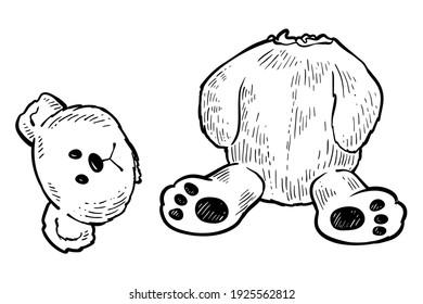 Teddy bear with torn of head, vector, monochrome