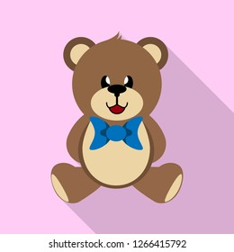 Teddy bear toy with a blue bow, long shadow, simple image