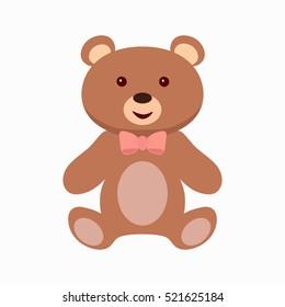 Teddy bear toy flat icon. Vector illustration.