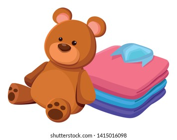 teddy bear toy and folded clothes icon cartoon isolated vector illustration graphic design