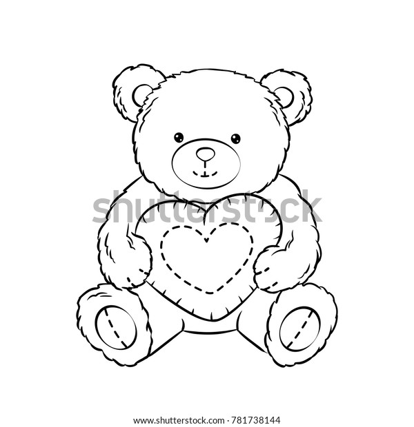- Teddy Bear Toy Heart Coloring Book Stock Vector (Royalty Free) 781738144